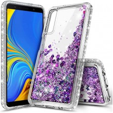 E-Began Case for Samsung Galaxy A50 /A50s /A30s, Sparkle Glitter Flowing Waterfall Liquid Floating Quicksand with Shiny Bling Diamond, Durable Girls Women Cute Protective Phone Case (Purple)
